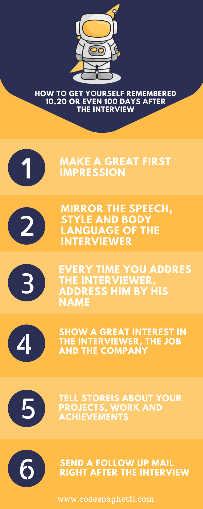 How to get remembered in interviews infographic