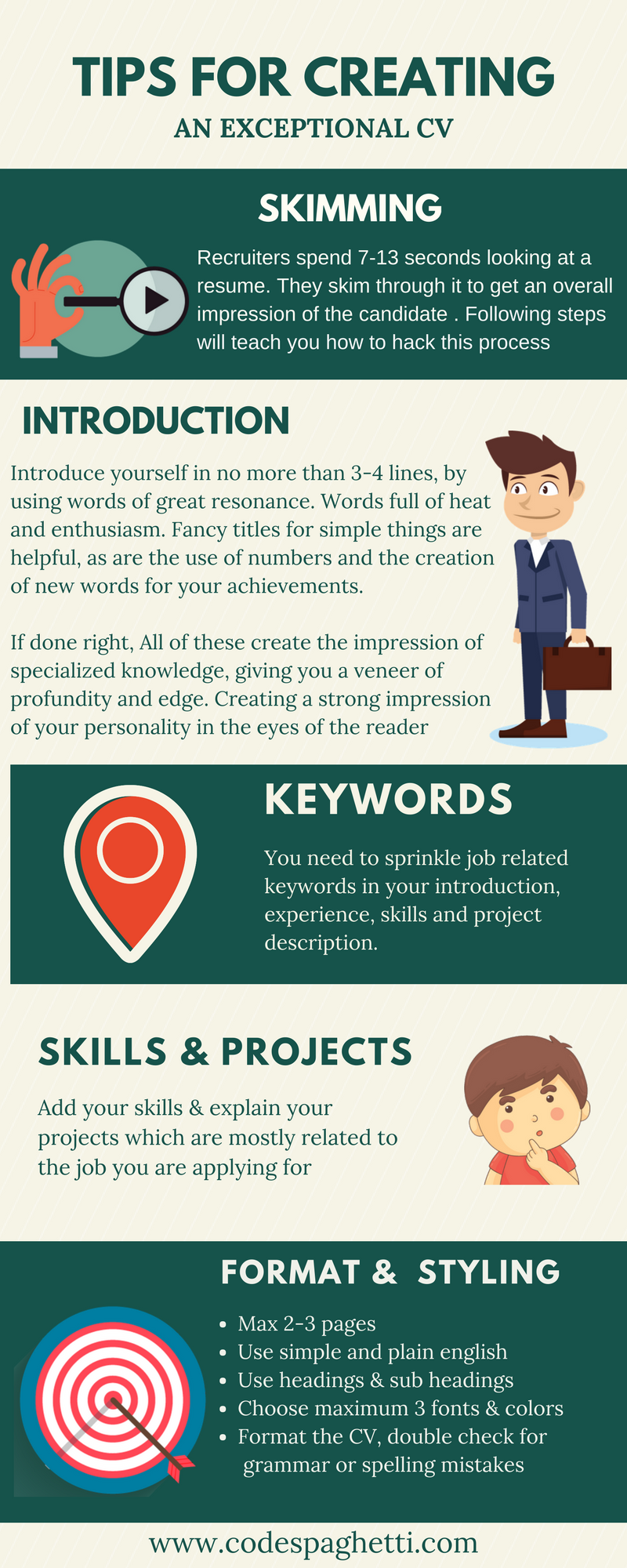 CV tips for developers infographics